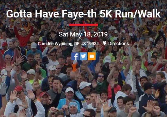 Faye-th Foundation 5K Race in Camden Wyoming, Delaware
